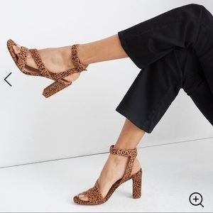 NWT Madewell The Liv Sandal In Leopard Calf Hair